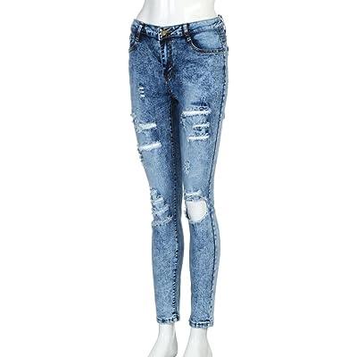 Pantalons Femmes Toamen longs Pantalon jeans trou slim Élasticité Décontractée Mode (S, Bleu)