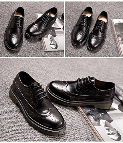Honingwinkel Unisex Retro Britse Brogue Schoenveter Schoenen Microsuede Loafer Flats Black-02