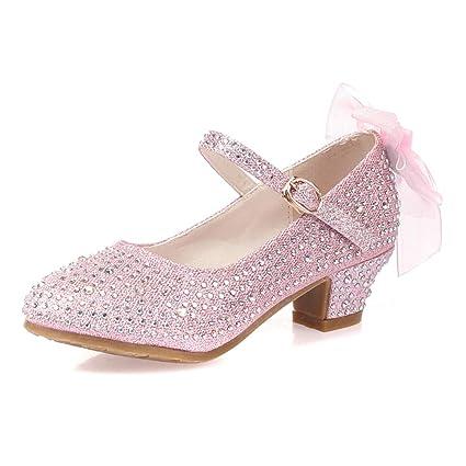 Zhrui Zapatos Tacón Mariposas Y Para Niñas Purpurina Con Bajo oCBdex