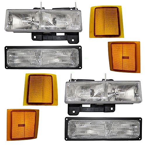 8 Piece Set Composite Headlights w/Front, Upper & Lower Side Signal Marker Lamps Replacement for Chevrolet SUV Pickup Truck AutoAndArt