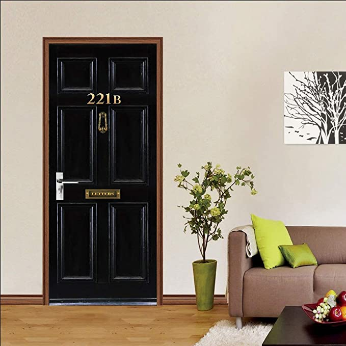 LCHZD Papel Pintado Puerta Vinilos Murales, Puerta Negra 3D ...
