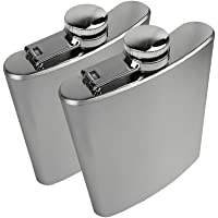ROSENICE 2pcs Flasque Alcool Acier Inoxydable Hip Flask 200ml (Argent)