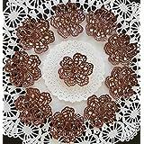 Dark Chocolate 24 PC Edible Lace 6 Petal Flower - Cupcake, Cake, Cake Pop, Petite Four, Coffee, or Tea