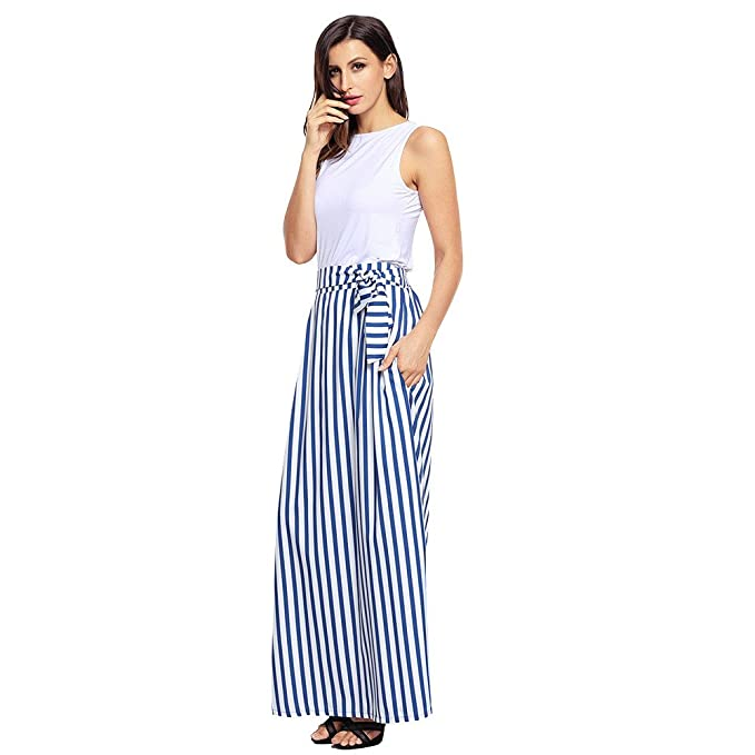 check out 89fd0 0a71c ZYUEER Gonne Lunghe A Righe Colorblock Chic con Gonna Lunga ...