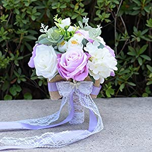 Abbie Home Lavender and White Rose Peony Bridesmaid Holding Flower with Lace Bow tie Decoration 106