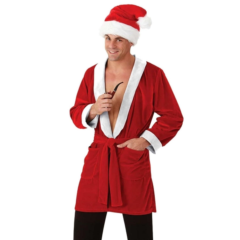 Mens Santa Smoking Jacket L/XL Christmas Dressing Gown Robe Fancy ...