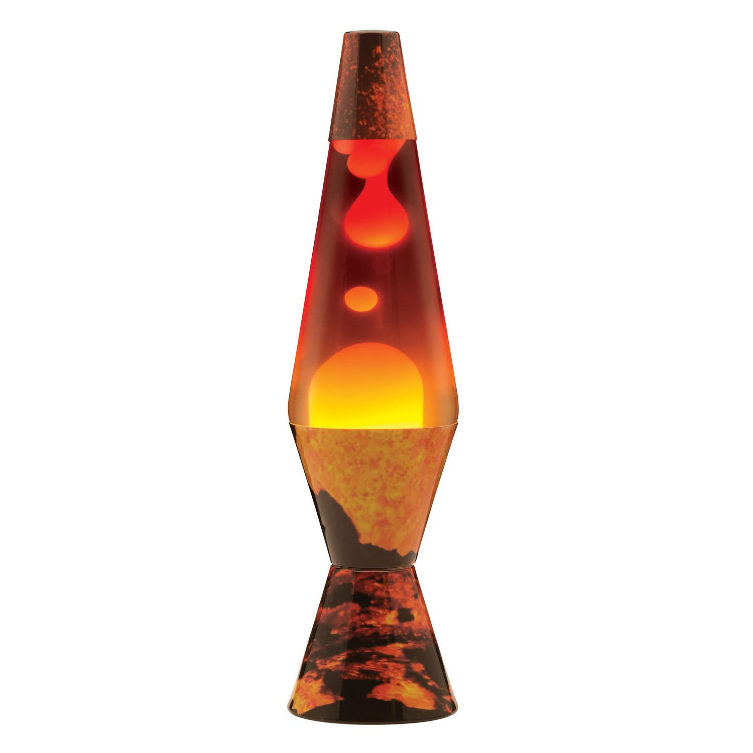 Schylling 2149 Lava The Original Colormax Lamp with Volcano Decal Base, 4.0'' x 4.0'' x 14.5'', Color Max Volcano Base/White Wax/Clear Liquid/Tri-Colored Globe