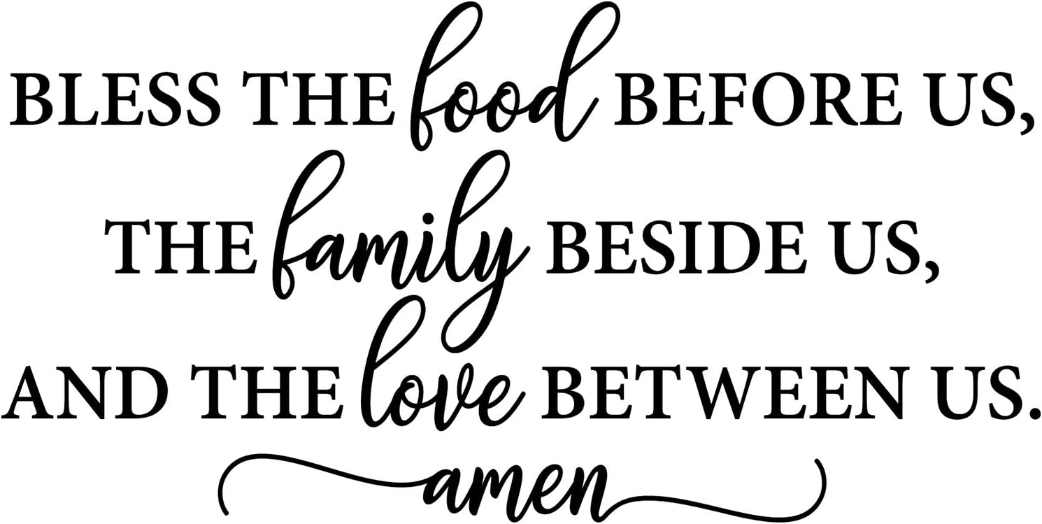 Amazon Com My Vinyl Story Bible Quotes Wall Decals Religious Inspirational Quotes Living Room Wall Decor Stickers Art Decorations Christian Verse Jesus Faith Home Gift Bless The Food Before Us Home