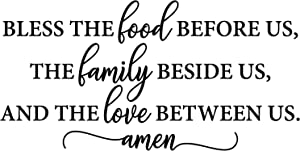 My Vinyl Story - Bible Quotes Wall Decals Religious Inspirational Quotes Living Room Wall Decor Stickers Art Decorations Christian Verse Jesus Faith Home Gift (Bless The Food Before us)