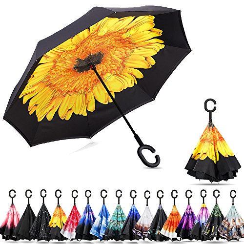 Ylovetoys Double Layer Inverted Umbrella with C-Shaped Handle, Windproof Car Open Folding Reverse Umbrella UV Protection Large Upside Down Straight Umbrella for Car Rain Outdoor (Yellow (Day Umbrella)