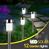 Shade&Beyond Solar Path Lights Outdoor Garden Led Lights Landscape Lighting Pathway Lights Waterproof White for Yard Lawn Patio Stainless Steel-12 Pack