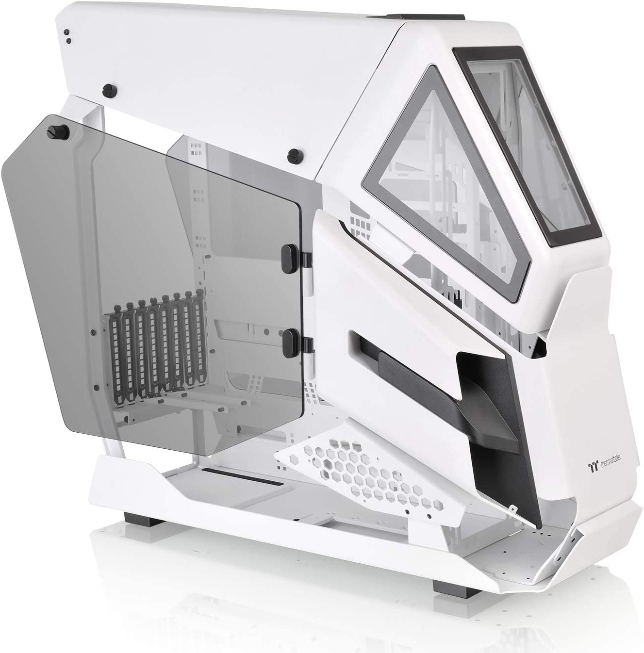 Thermaltake AH T600 Snow Helicopter Styled Open Frame Tempered Glass Swing Door E-ATX Full Tower Case CA-1Q4-00M6WN-00