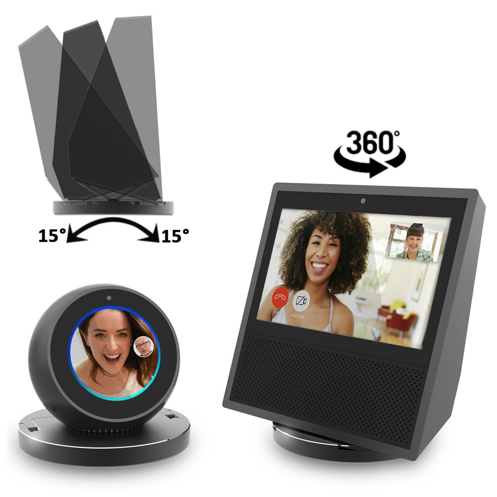 Echo Show Stand, Echo Spot Stand, Aluminum Stand for Amazon Echo Show Spot Google Home Speaker Accessories, Horizontal 360 Rotation, Longitudinal Angle Change Base ES006-02