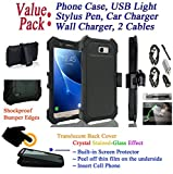 Value Pack + for Samsung J7 Prime On Nxt On7 Prime case Clip Crystal Holster 360° Cover Screen Protector Kick stand Armor Shock Bumper (Black)