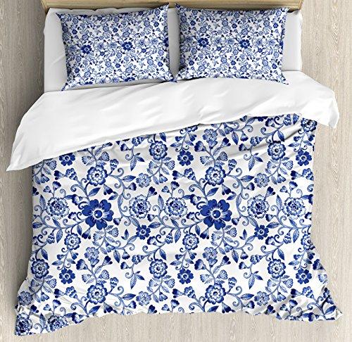 Ambesonne Watercolor Duvet Cover Set King Size, Artistic Vibrant Blue Flowers Pattern Feminine Floral Spring Ornaments, Decorative 3 Piece Bedding Set with 2 Pillow Shams, Violet Blue White