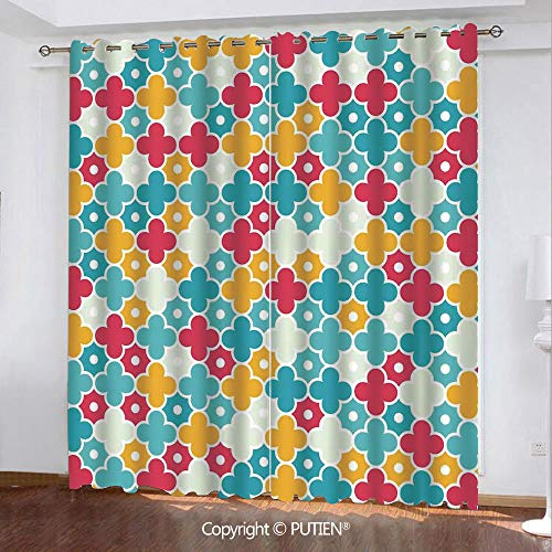 (Satin Grommet Window Curtains Drapes [ Quatrefoil,Kids Colorful Petal Clover Leaves Pattern Bohemian Casual Kids Theme,Red Turquoise Yellow ] Window Curtain for Living Room Bedroom Dorm Room Classroom)