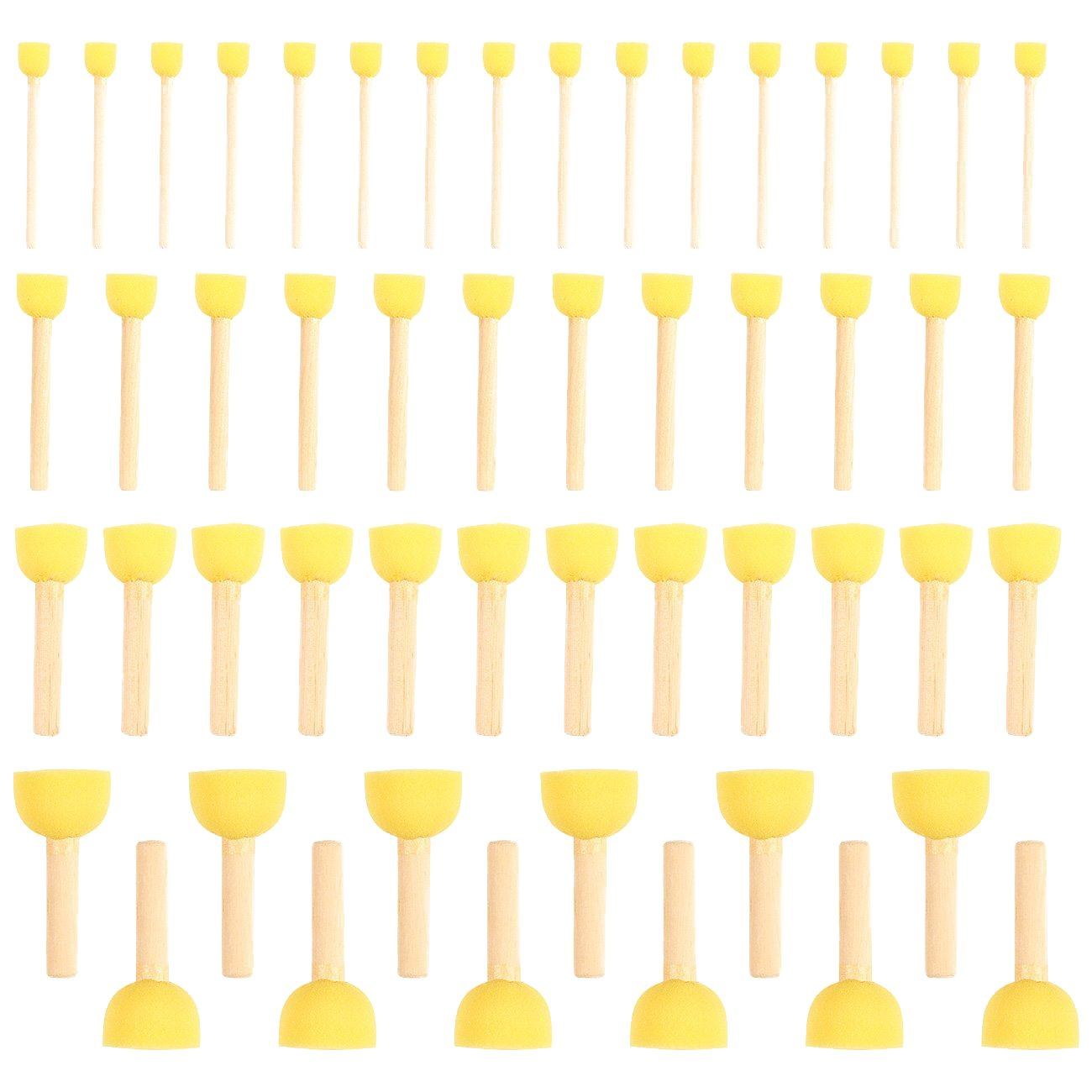 Pack of 50 Round Foam Sponge Paint Brush Set - Stencil Brush Value Pack - 4 Different Sizes - Great for Kids Arts and Crafts, Stencils, Painting Juvale