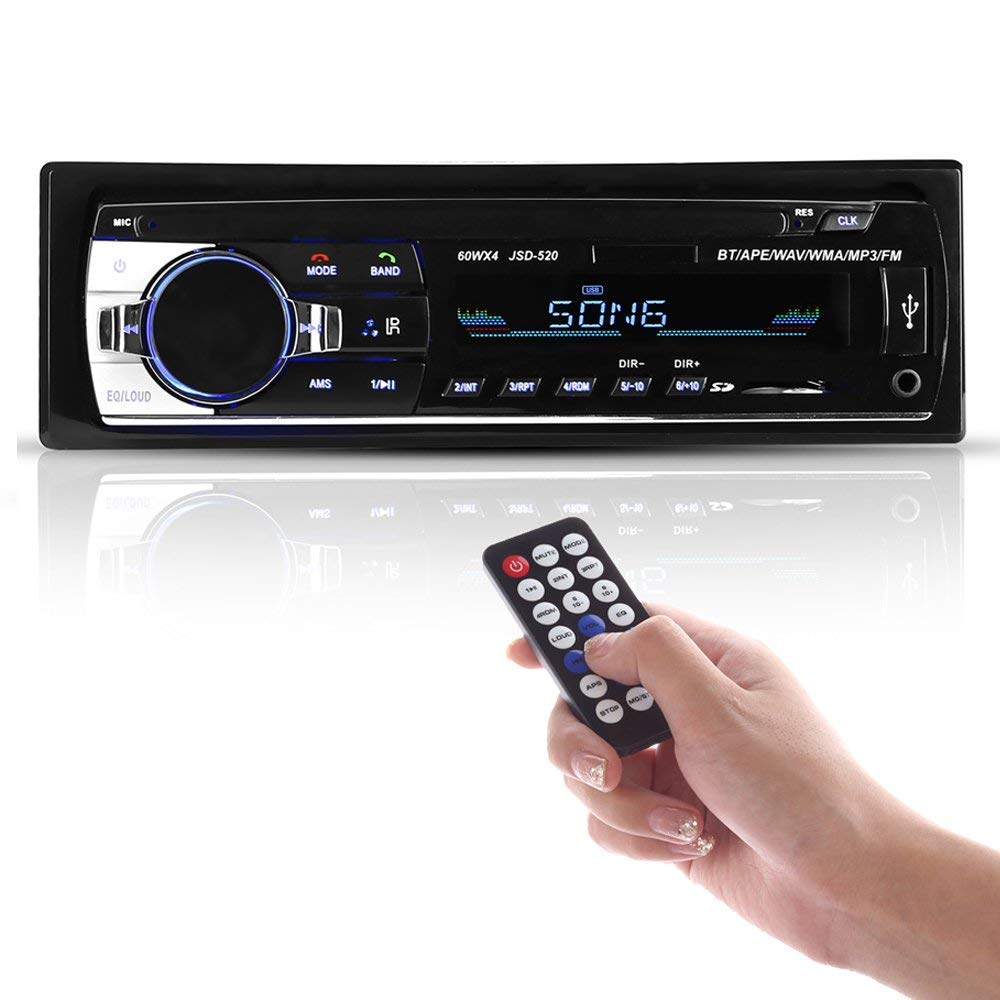 BESTREE Bluetooth Audio Receiver MP3 Player/FM Radio1 Din in Dash USB/SD/AUX Car Electronics with Remote Control, Car Stereo Player, 12V