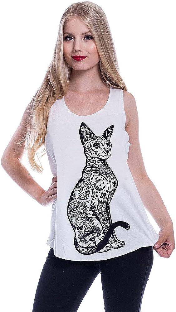 Innocent Top o Camiseta Sin Mangas en Blanco con Gato Esfinge Tatuado