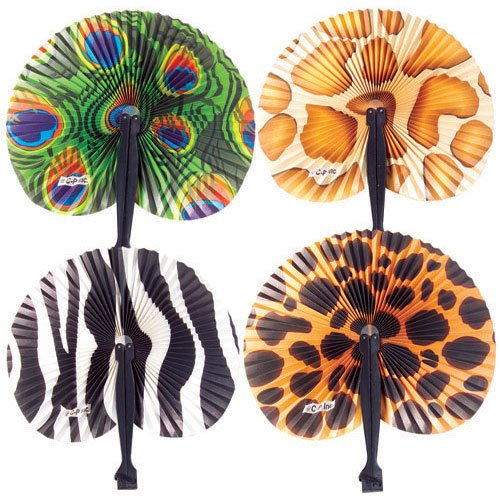 US TOY GROUP LLC Safari Folding Fans : (1-Pack of 12), Brown (Animal Chinese)