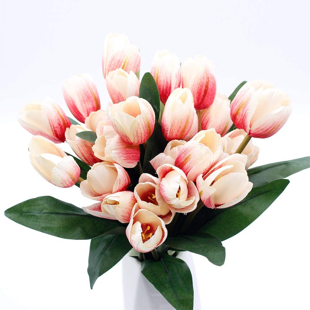 """SNAIL GARDEN 27 Pcs Silk Tulip,13.8"""" 3 Pack Artificial Flowers, Artificial Bouquet with Satin Ribbon for Home Room Office Wedding Party Decor (Pink)"""