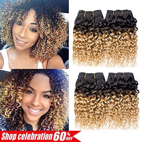 Ameli Curly Hair 4 Bundles Short Human Hair Bundles Brazilian Ombre Kinky Curly Virgin Human Hair Extensions 8 inch 50g/Bundle 1B/27#