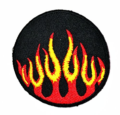 HHO Flame Fire Racing patch Flame Fire Racing cartoon Patch Embroidered DIY Patches, Cute Applique Sew Iron on Kids Craft Patch for Bags Jackets Jeans Clothes - Flame Embroidery
