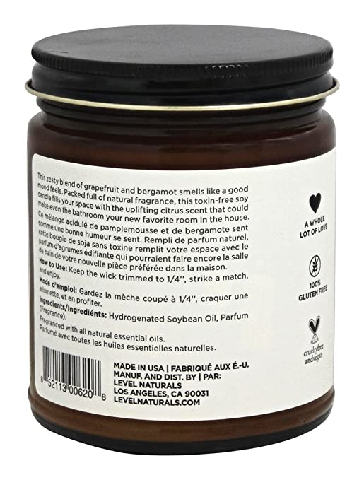Amazon.com: Level Naturals Soy Aromatherapy Candle 8 Oz (Grapefruit + Bergamot) - 100% Natural, Toxin Free, Vegan, Hand Poured Candles: Health & Personal ...