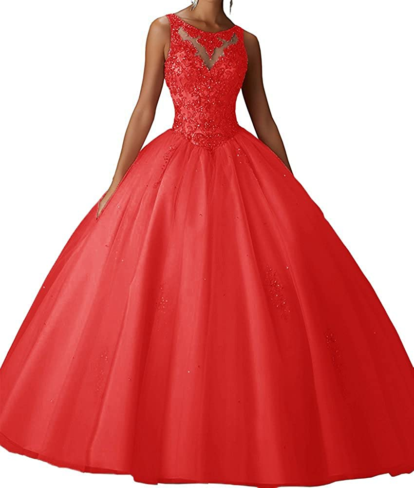 Red XSWPL Girls Sweet 16 Birthday Party Dress Ball Gown Beads Prom Quinceanera Dresses
