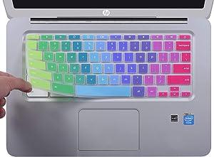 CaseBuy Colorful Ultra Thin Keyboard Cover for HP 14 inch Chromebook/HP Chromebook 14-db Series/HP Chromebook 14-ca Series/HP Chromebook 14-ak Series/HP Chromebook 14 G2 G3 G4 G5, Rainbow