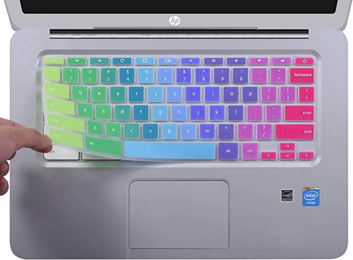 CaseBuy Colorful Ultra Thin Keyboard Cover for HP 14 inch Chromebook/HP Chromebook 14-db Series/HP Chromebook 14-ca Series/HP Chromebook 14-ak Series/HP Chromebook 14 G2 G3 G4 G5, Rainbow