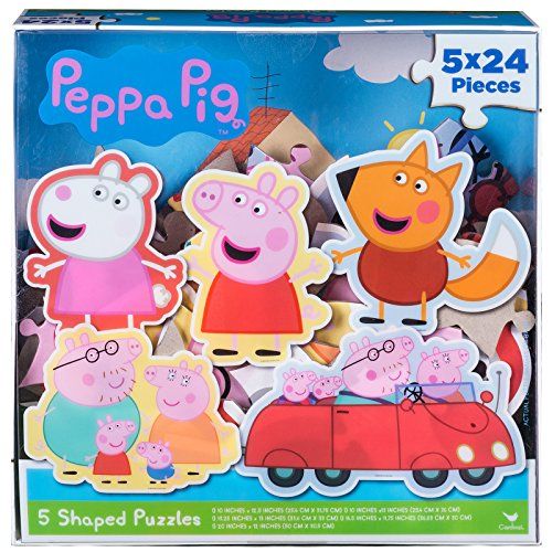 - Peppa Pig 5 Shape Puzzles in Clear Lid Box (24 Pieces)