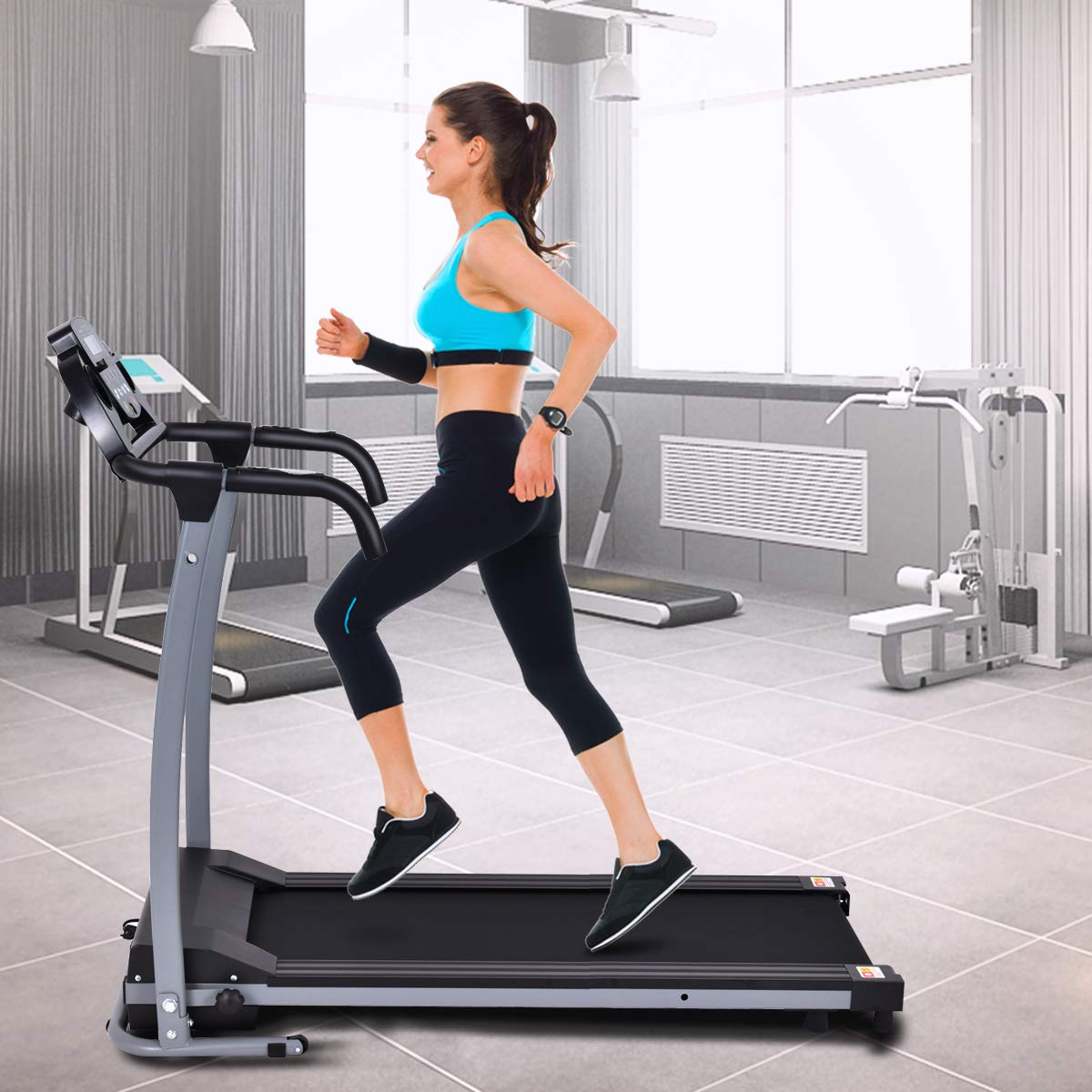 Goplus 800W Folding Treadmill Electric Motorized Power Fitness Running Machine with LED Display and Mobile Phone Holder Perfect for Home Use (Black) by Goplus (Image #2)