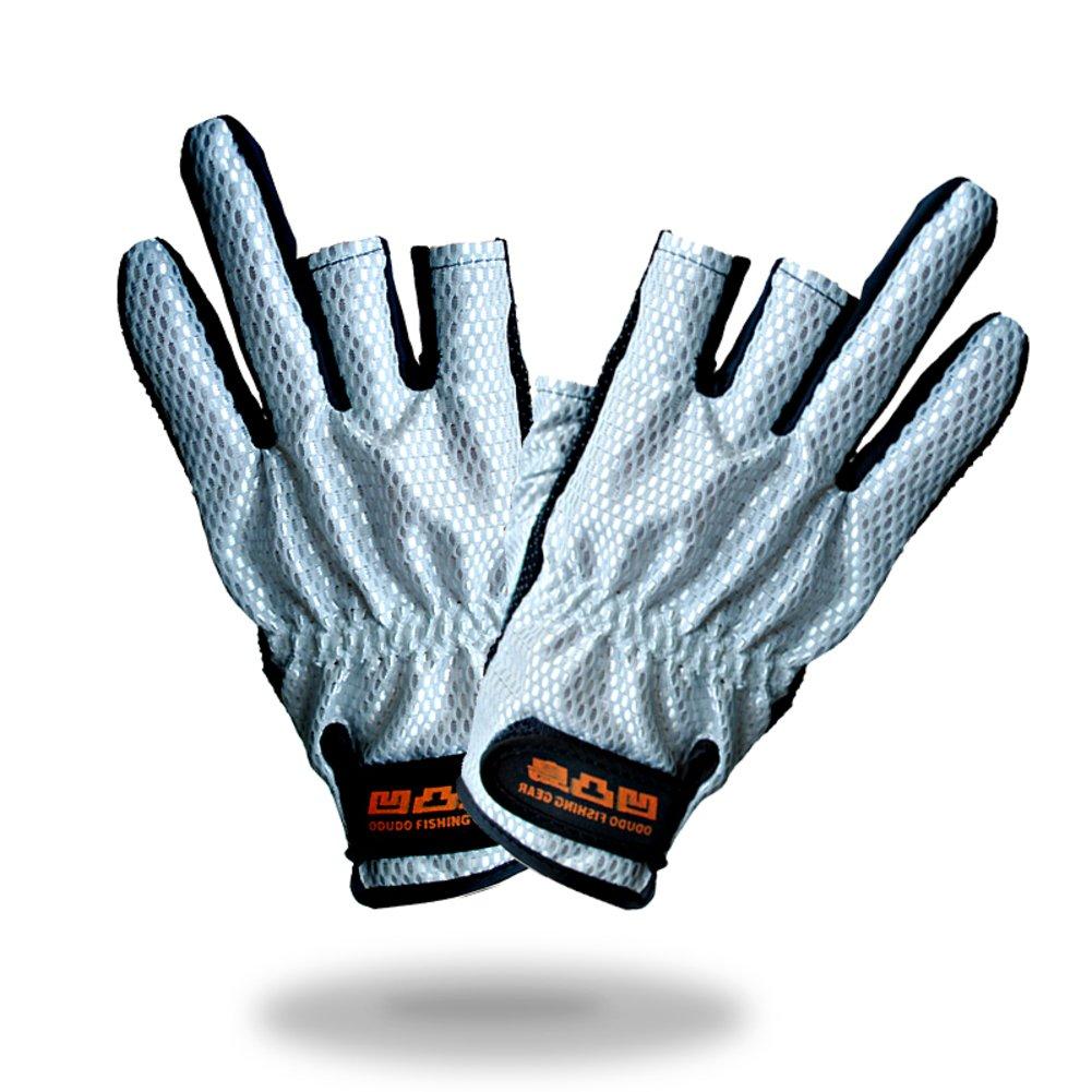 着用日焼け止め釣りグローブ/指なし夏バイク半指手袋/手袋の男性と女性 B06XHJS8ZM  B One Size