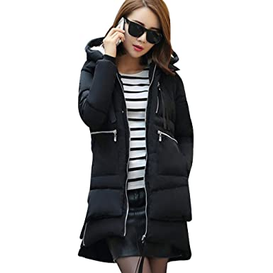 f15f04bf8 Amazon.com: Arichtops Winter Women Down Jacket Hooded Thick Mid-Long ...