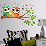 Decals Design StickersKart Wall Stickers Best Selling Big Eyed Cute Owl Family (Multicolor)