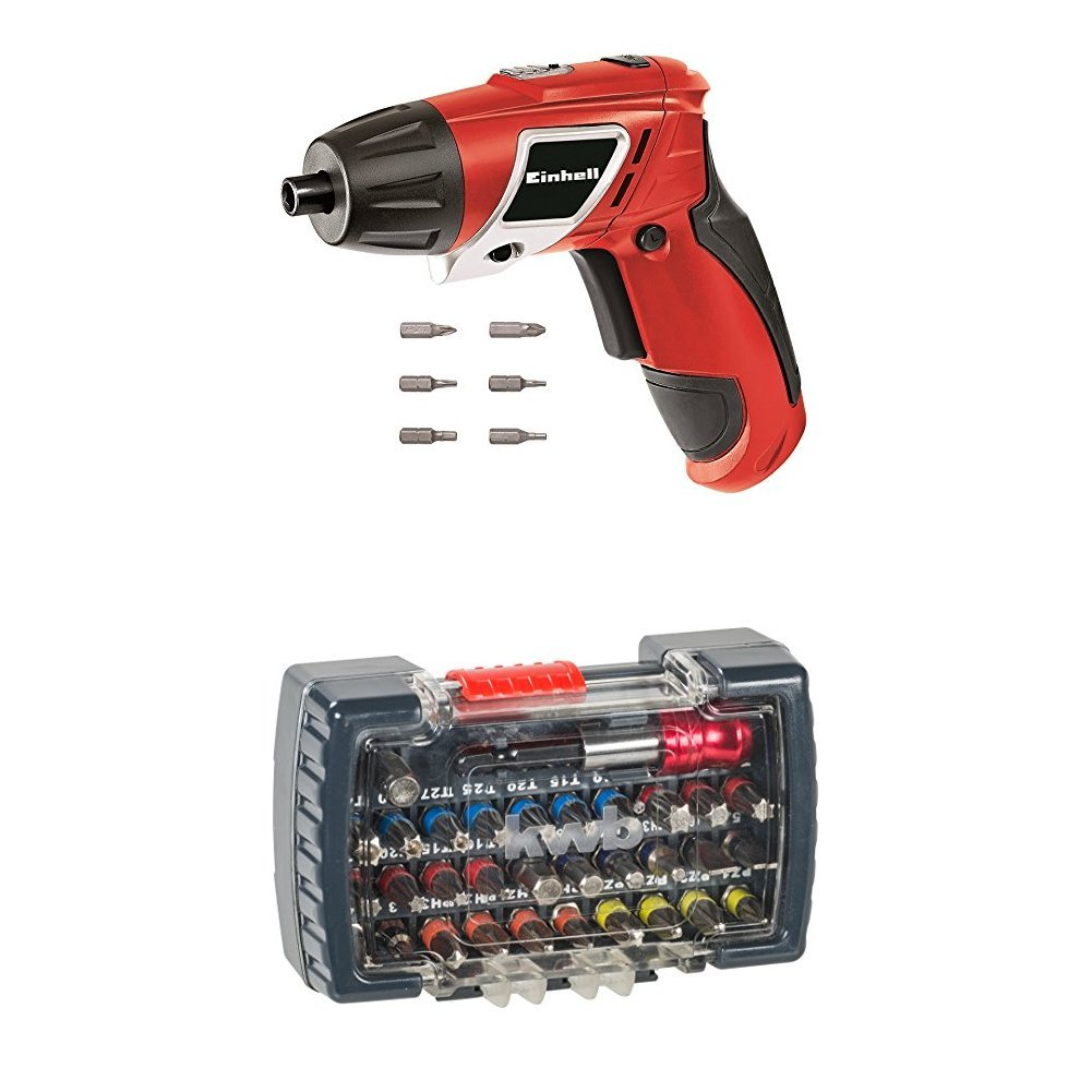 Einhell Akku Knick Schrauber TC-SD 3,6 Li (Lithium Ionen, 3,6 V, 1,3 Ah, 3 Nm, LED-Licht, LED-Batterieanzeige, inkl. 6 Bits und Ladegerä t) 4513442