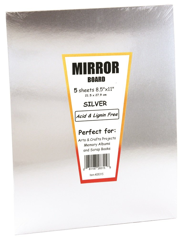 Hygloss Products Mirror Board Sheets - Reflective, Shiny Poster Board – 8-1/2 x 11 Inches, Silver, 5 Pack