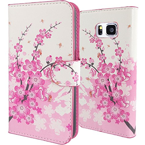 WwWSuppliers Pink & White Cherry Blossom PU Leather Wallet Case for Samsung Galaxy Note 5 N920 Cute Slim Credit Card Cash Flip Purse Stand Cover ~ Estuches Fundas Accesorios (Accesorios Carteras)