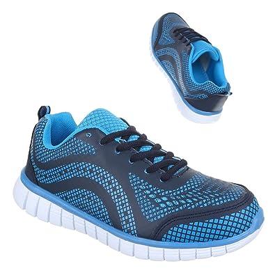 Ital-Design Sportschuhe Damen-Schuhe Geschlossen Moderne Schnürsenkel  Freizeitschuhe Blau, Gr 36,