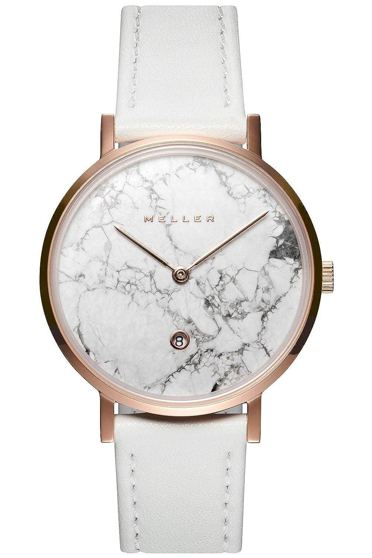 Meller Reloj Analógico para Unisex Adultos de Cuarzo con Correa en Cuero W1R-1WHITE: Amazon.es: Relojes