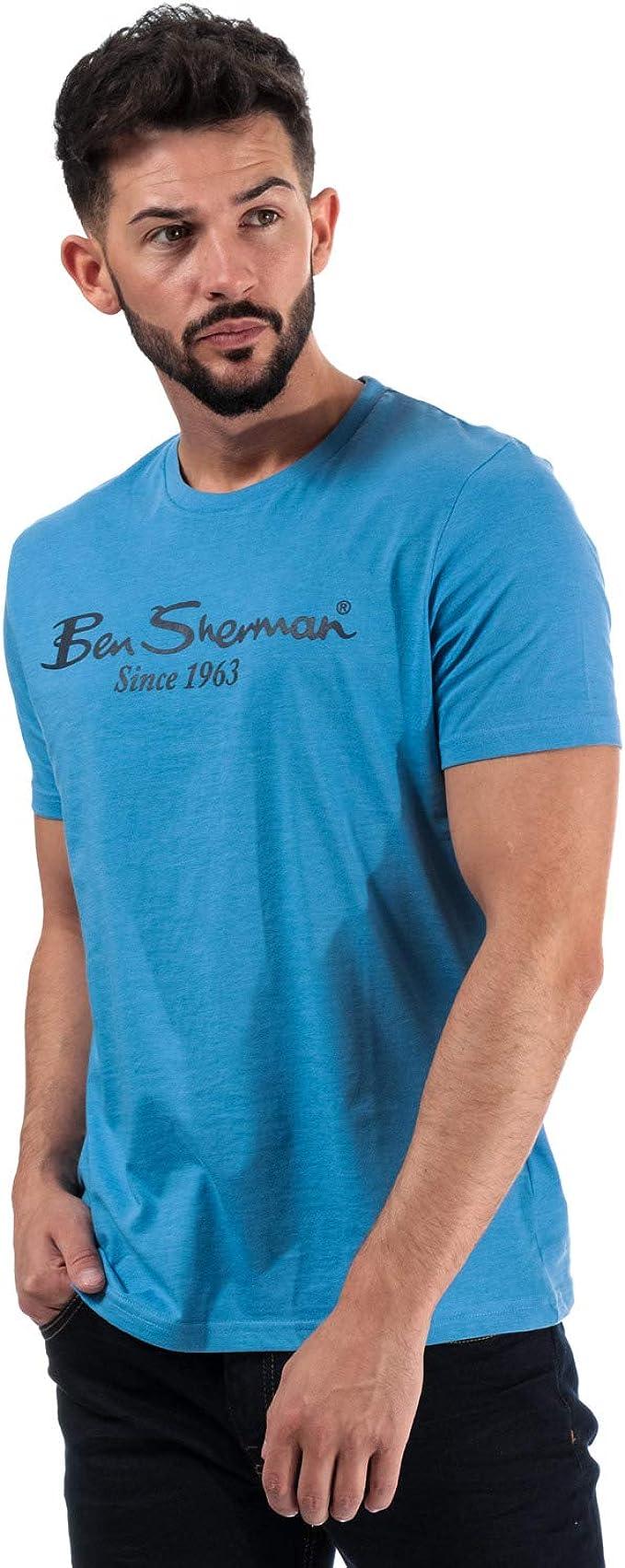 Ben Sherman - Camiseta para hombre, diseño de logotipo en color azul claro Azul azul M: Amazon.es: Ropa y accesorios