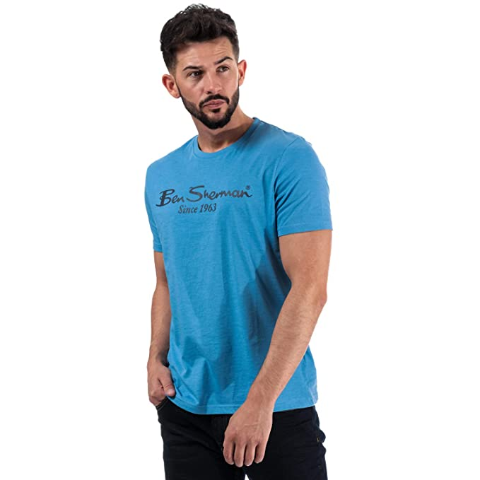 Short Sleeve Ribbed Mens Ben Sherman Large Logo Script T-Shirt In White