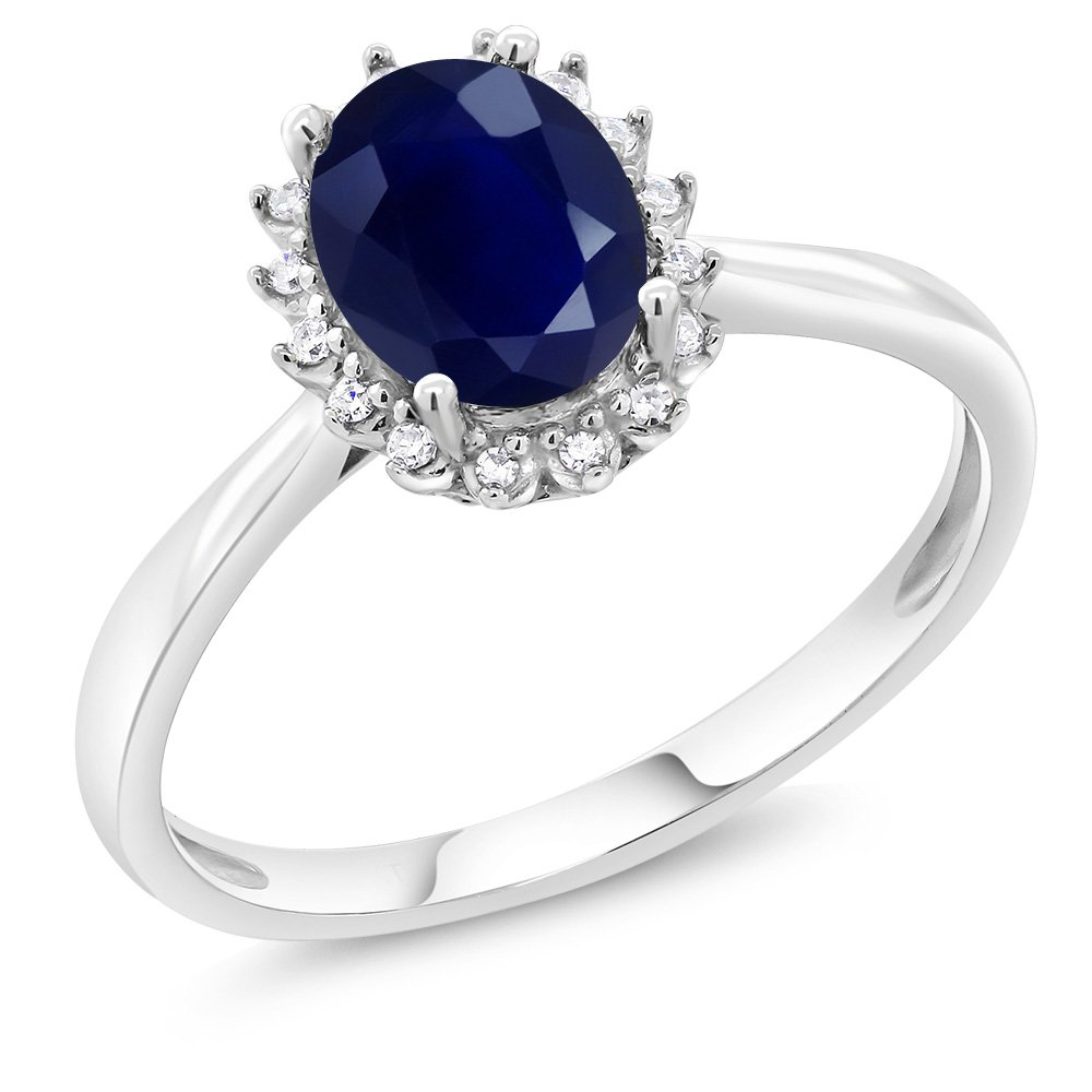 10K White Gold 1.79 Ct Oval Blue Sapphire Gemstone Birthstone Women's Engagement Ring with Diamonds (Ring Size 9)