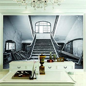 Fotomural 3D Escalera Retro Papel Pintado Tejido No Tejido Decoración De Pared Decorativos Murales Moderna.350X256Cm (Ancho X Alto): Amazon.es: Bricolaje y herramientas