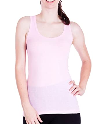 2e6f4169f2e65c Light Pink Ladies Ribbed Tank Top at Amazon Women s Clothing store ...