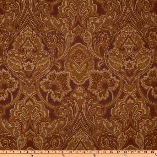 Eroica Hollyhock Damask Jacquard Merlot Fabric By The Yard