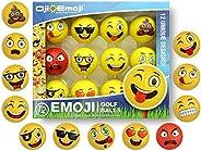 Oji-Emoji Premium Emoji Golf Balls, Unique Professional Practice Golf Balls, 12-Pack Emoji Golfer Novelty Golf