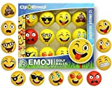 Oji-Emoji Premium Emoji Golf Balls, Unique Dual-Layer Professional Practice Golf Balls, 12-Pack Emoji Golfer Novelty Gag Gifts for All Golfers, Fun Golf Gift for Dads, Guys, Men, Women, Kids, Grandpa