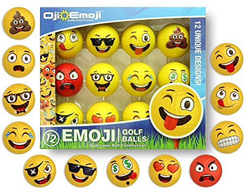 Oji-Emoji Premium Emoji Golf Balls, Unique Dual-Layer Professional Practice Golf Balls, 12-Pack Emoji Golfer Novelty Gag Gifts for All Golfers, Fun Golf Gift for Dads, Guys, Men, Women, Kids, -
